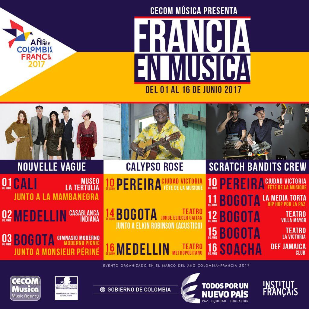 Francia en Musica, Calypso Rose, Nouvelle Vague, Scratch Bandits Crew en Colombia